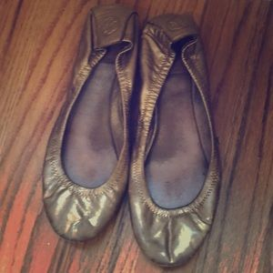 USED gold leather Tory Burch ballet flats size7